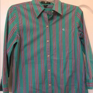 Ralph Lauren Women M Medium Turquoise Button Shirt